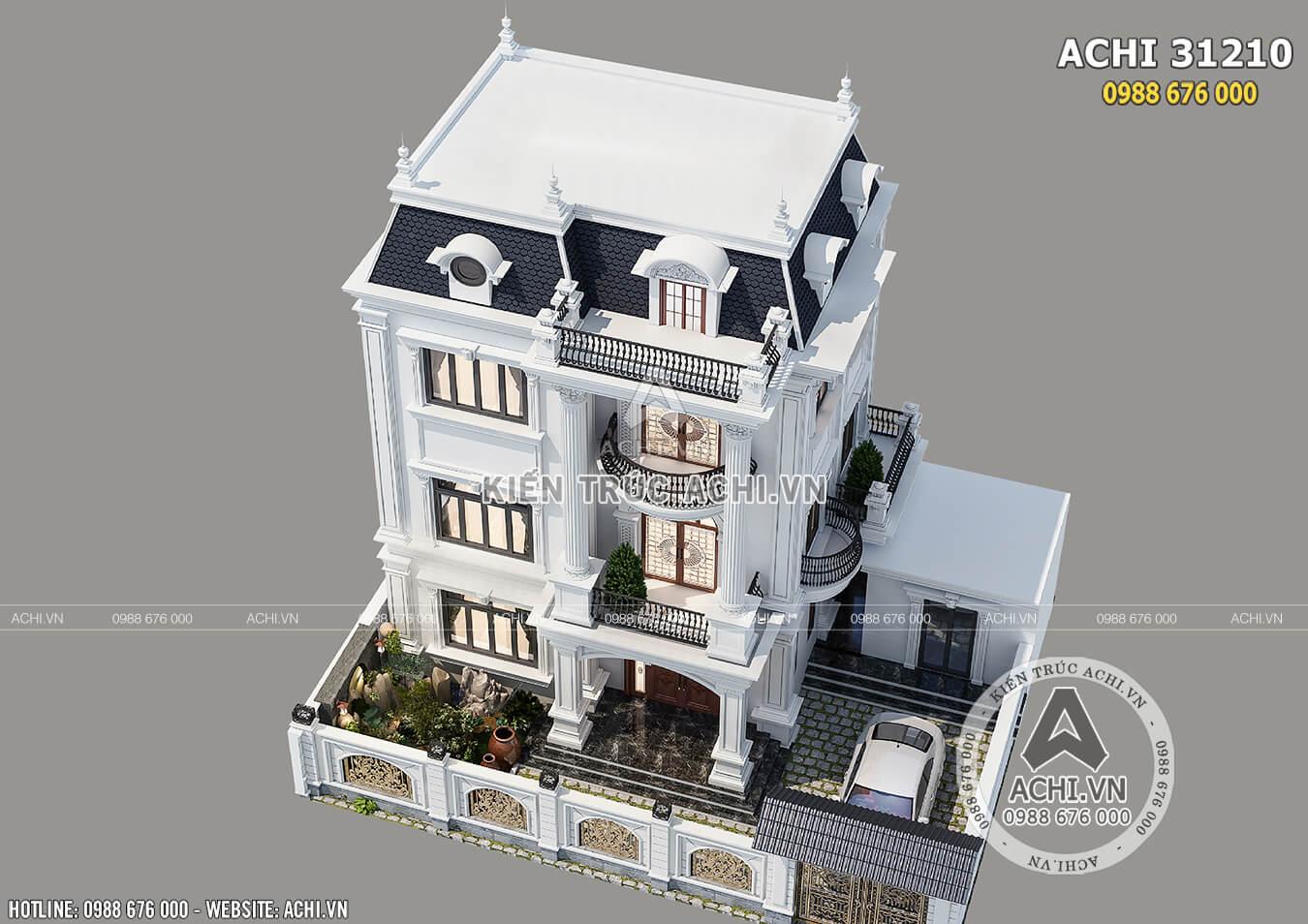 Mẫu biệt thự tân cổ điển 3 tầng đẹp nhìn từ trên cao