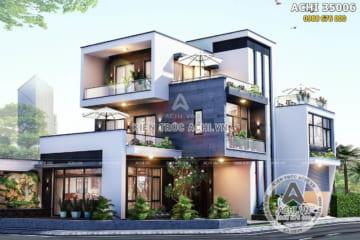 Mẫu thiết kế biệt thự hiện đại đẹp 3 tầng tại Hà Nam – ACHI 35006