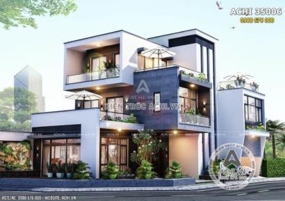 Mẫu thiết kế biệt thự hiện đại đẹp 3 tầng tại Hà Nam - ACHI 35006