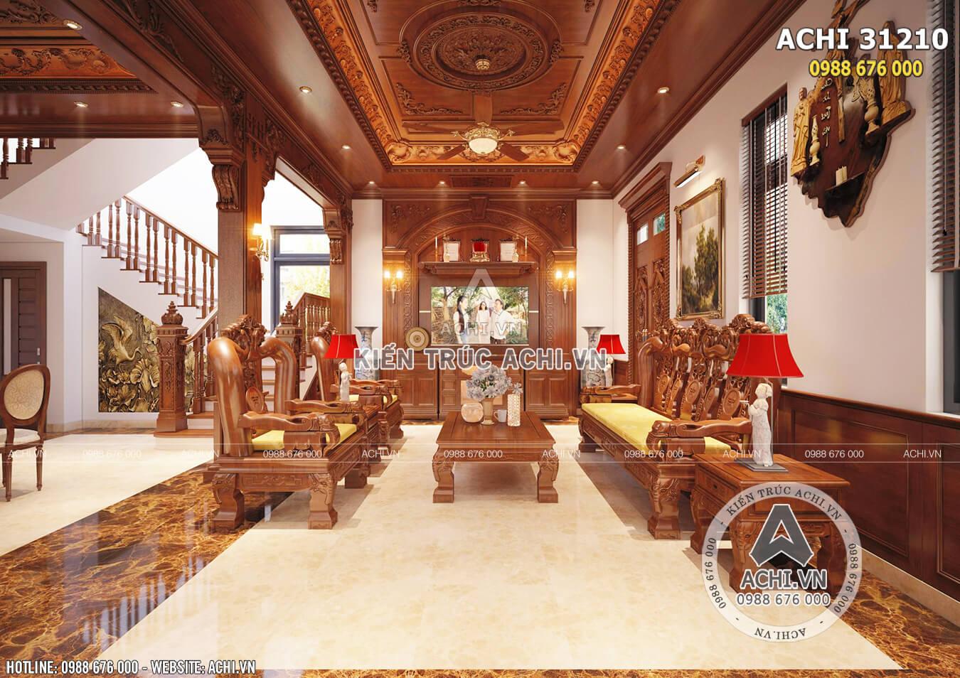 Không gian nội thất phòng khách mẫu nhà tân cổ điển 3 tầng