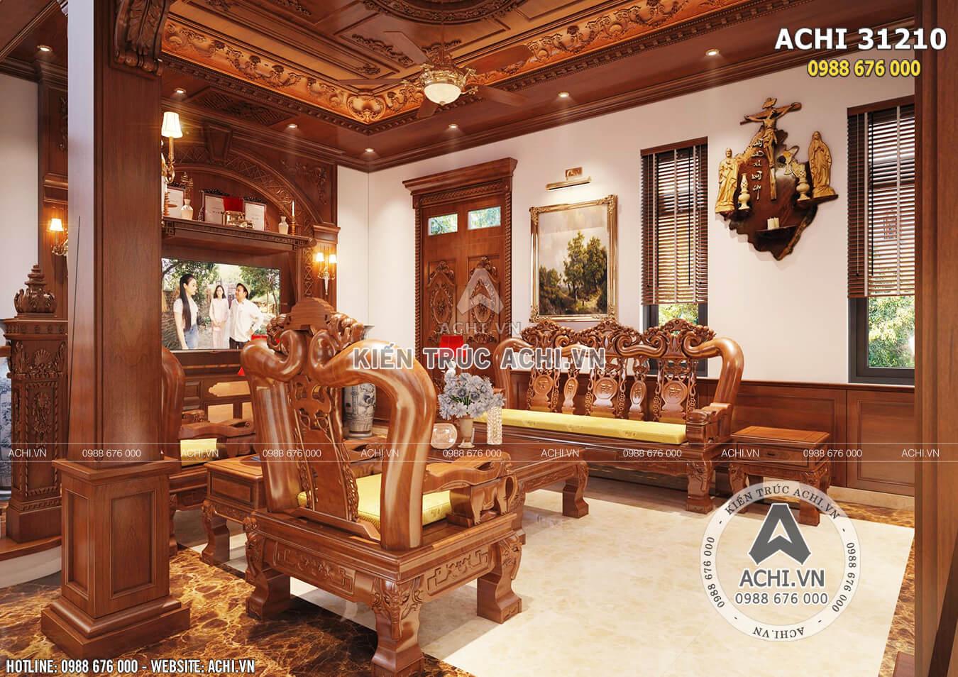 Một góc view của nội thất phòng khách tân cổ điển
