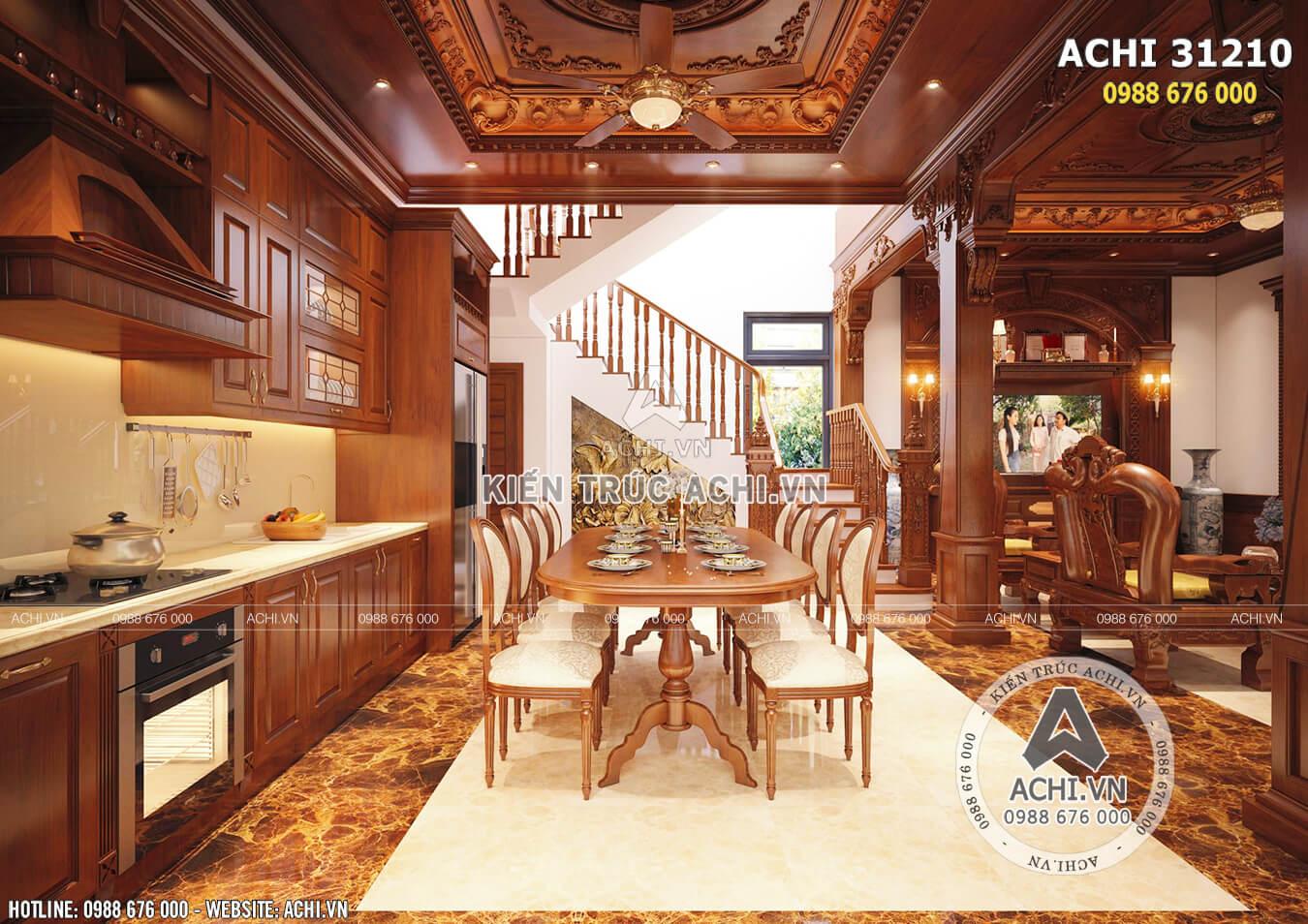 Không gian phòng bếp mẫu nhà tân cổ điển 3 tầng