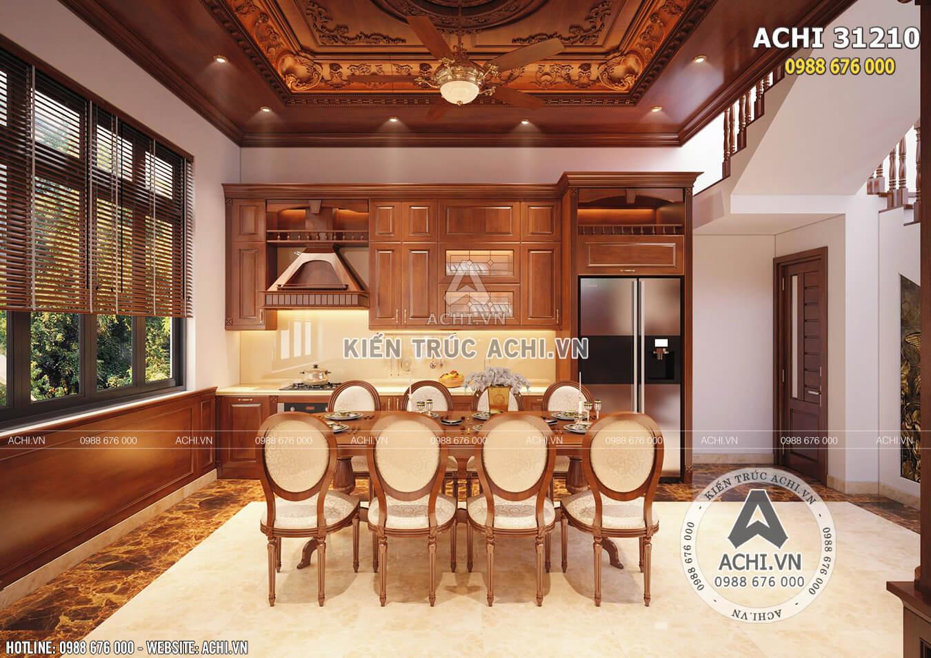 Nội thất phòng bếp nổi bật và ấm áp với chất liệu gỗ cao cấp