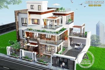 Mẫu thiết kế biệt thự hiện đại 3 tầng đẹp sang trọng – ACHI 35015