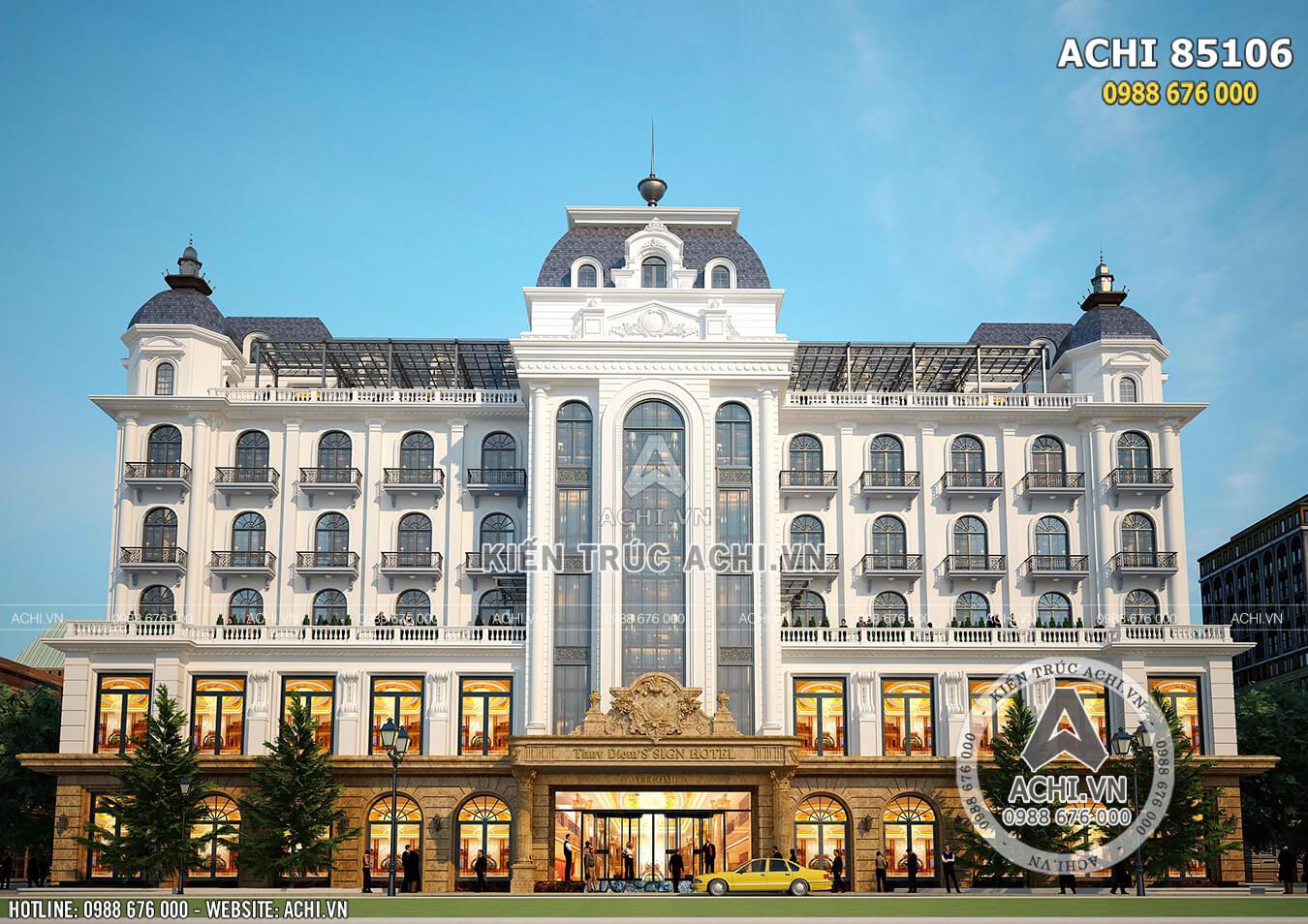 Không gian 3D mặt tiền mẫu thiết kế khách sạn đẹp tiêu chuẩn 4 sao - 5 sao - Mã số: ACHI 85106