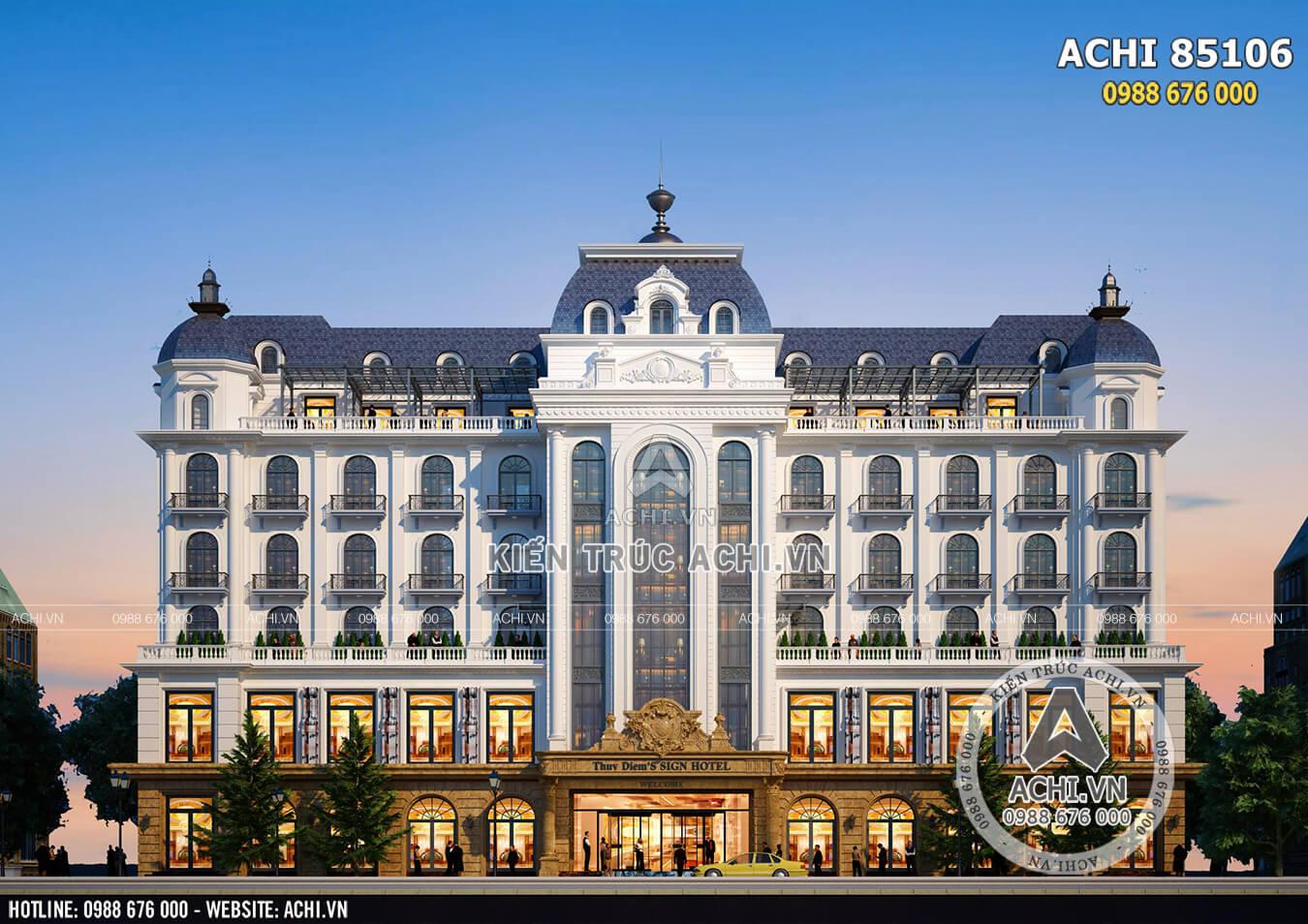 Toàn cảnh ngoại thất mẫu thiết kế khách sạn đẹp, sang trọng, đẳng cấp tiêu chuẩn 5 sao