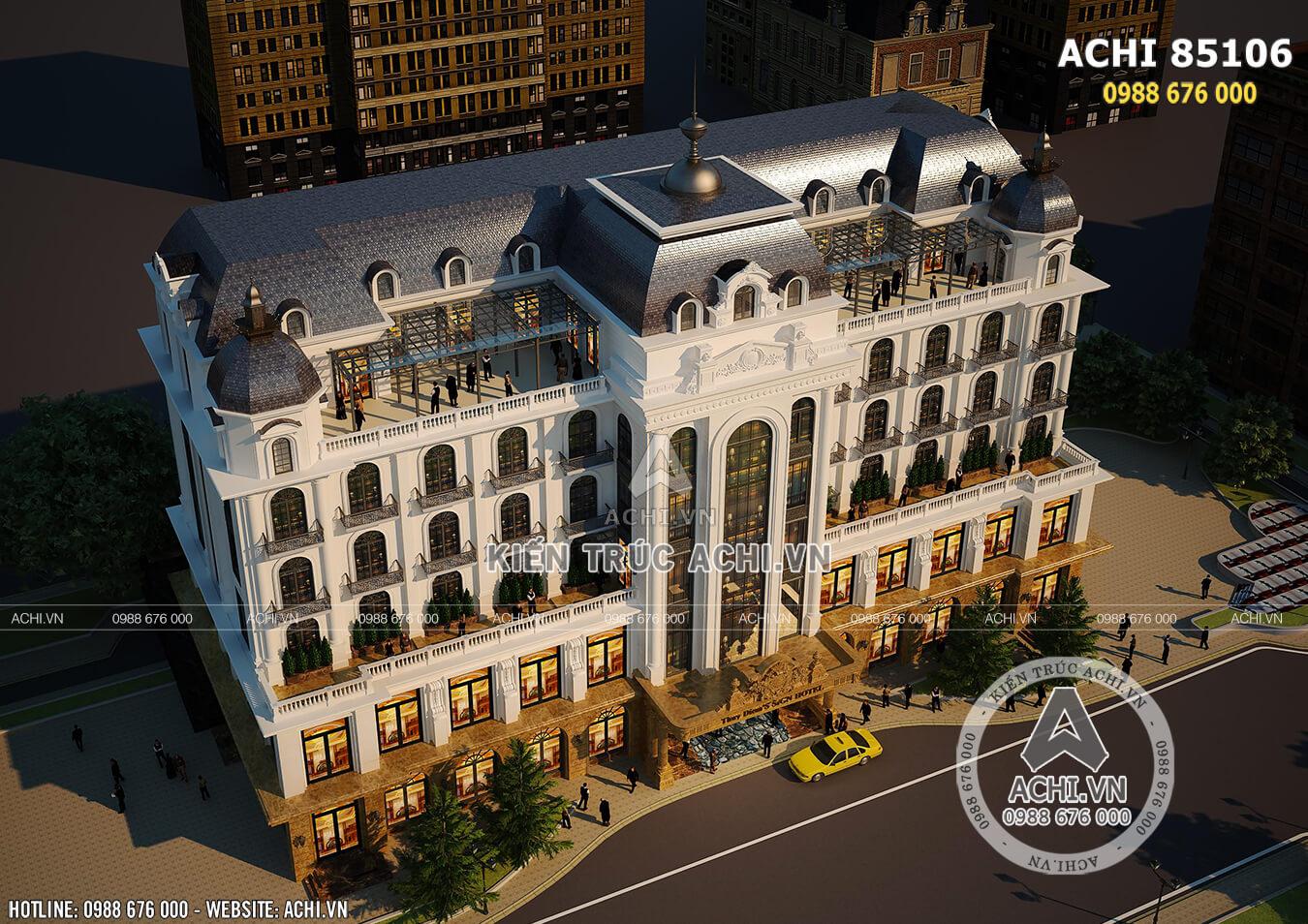 Mẫu thiết kế khách sạn đẹp tiêu chuẩn 4,5 sao khi nhìn từ trên cao xuống