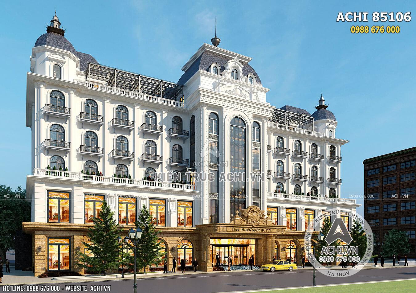 Phối cảnh 3D ngoại thất mẫu thiết kế khách sạn đẹp tiêu chuẩn 4,5 sao