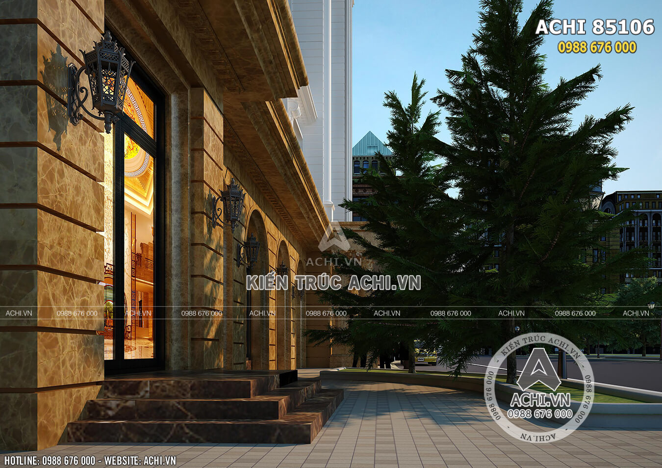 Phối cảnh 3D sảnh tầng 1 của mẫu thiết kế khách sạn 5 sao