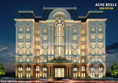 Không gian mặt tiền mẫu thiết kế tổ hợp văn phòng khách sạn tân cổ điển đẹp - Mã số: ACHI 85312