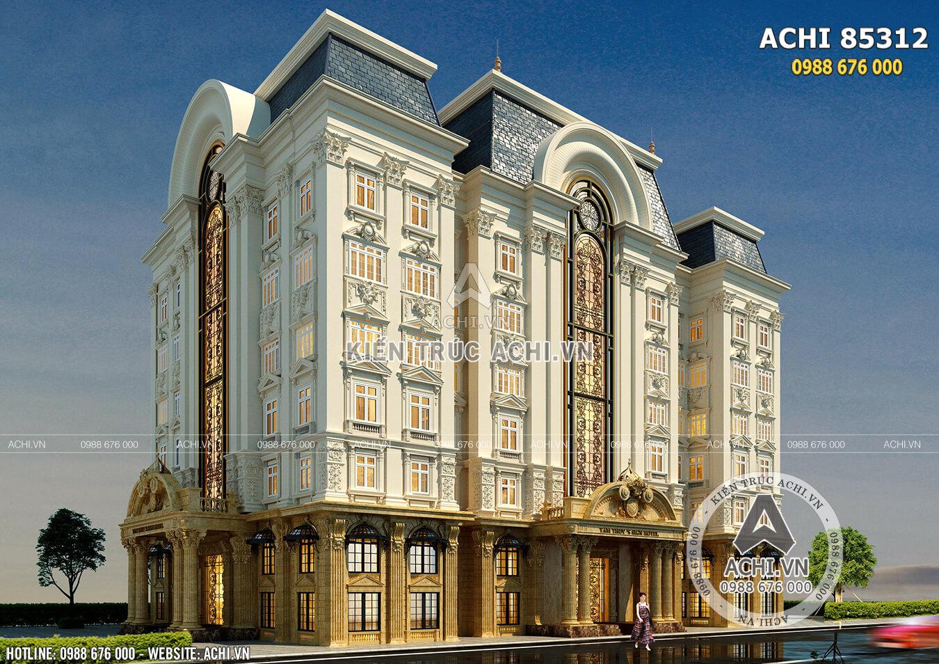 Không gian ngoại thất công trình khách sạn văn phòng kiến trúc tân cổ điển sang trọng