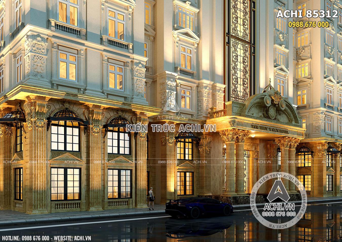 Một góc view đẹp, sang trọng và xa hoa của mẫu thiết kế tổ hợp văn phòng khách sạn tân cổ điển