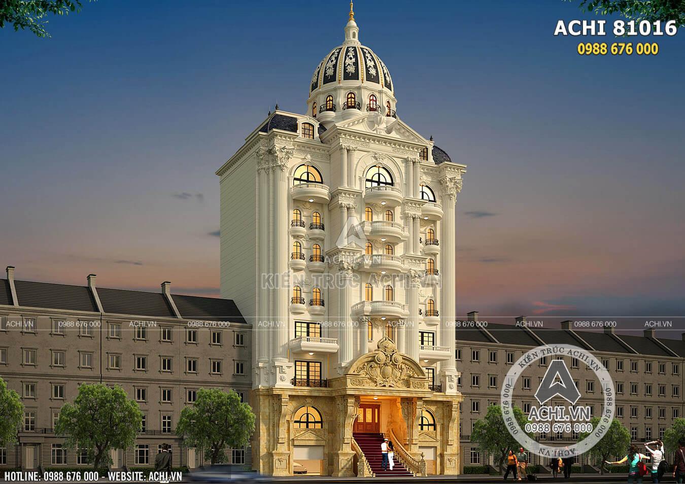 Phối cảnh 3D thiết kế tòa nhà văn phòng mặt tiền 15m tân cổ điển