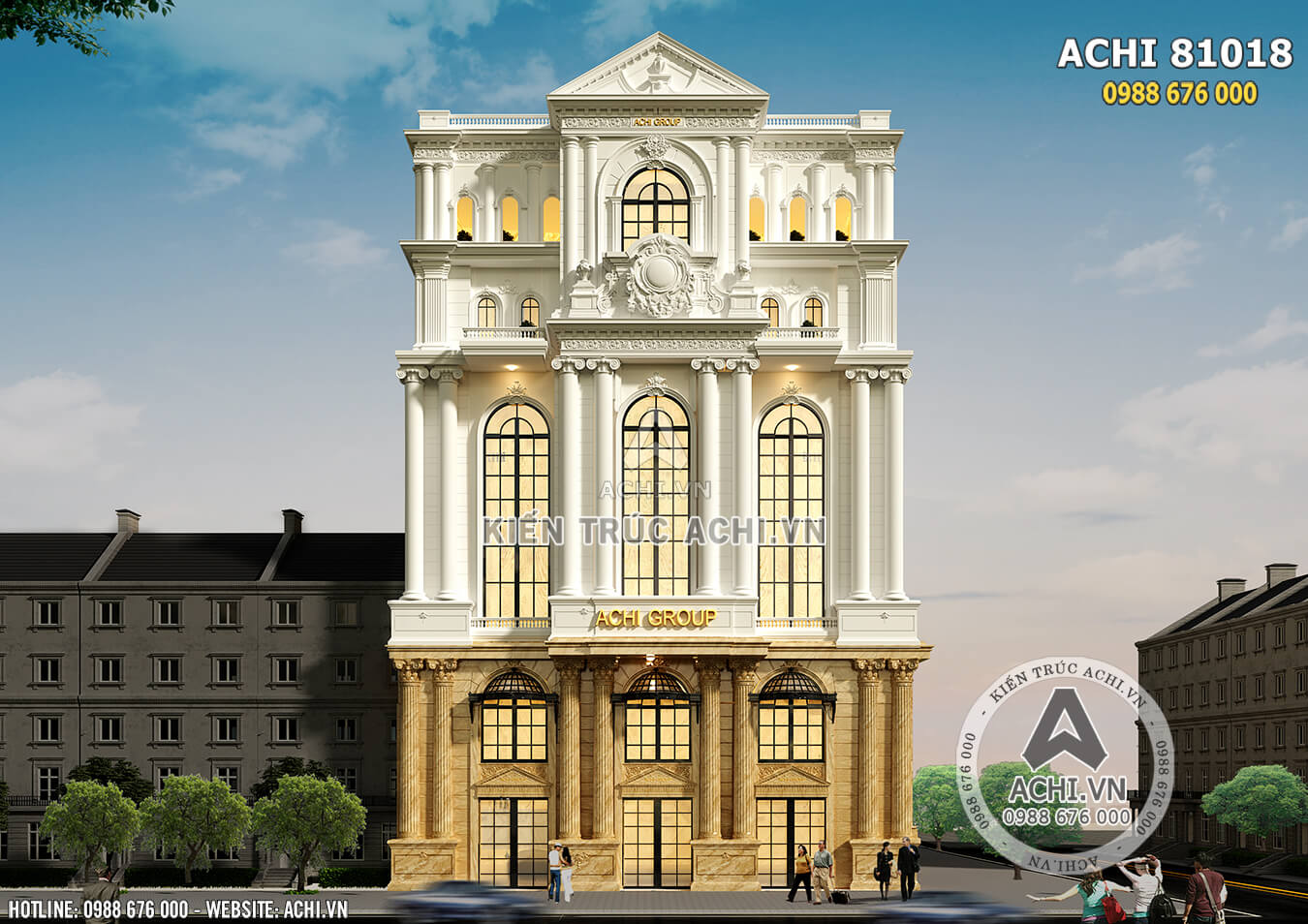 Mặt tiền 20m của mẫu thiết kế khách sạn nhà hàng