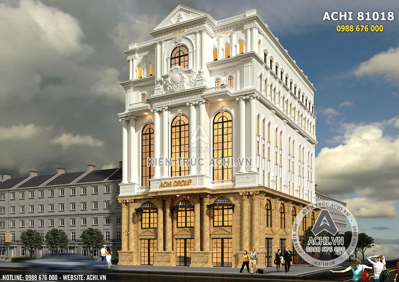 Mẫu thiết kế văn phòng khách sạn 4 sao mặt tiền 20m - ACHI 81018