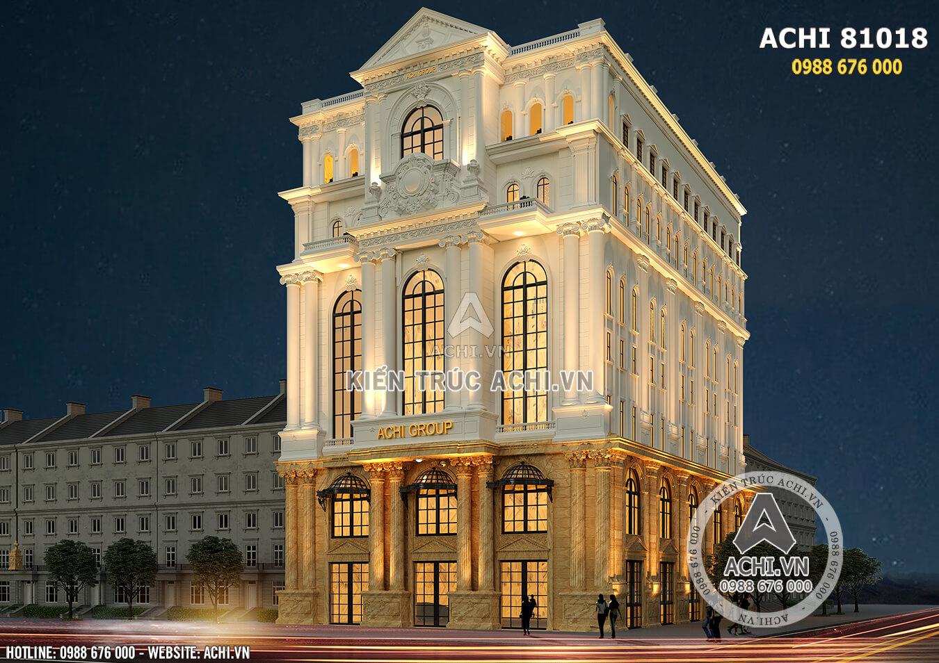 Toàn cảnh mẫu thiết kế văn phòng khách sạn 4 sao mặt tiền 20m
