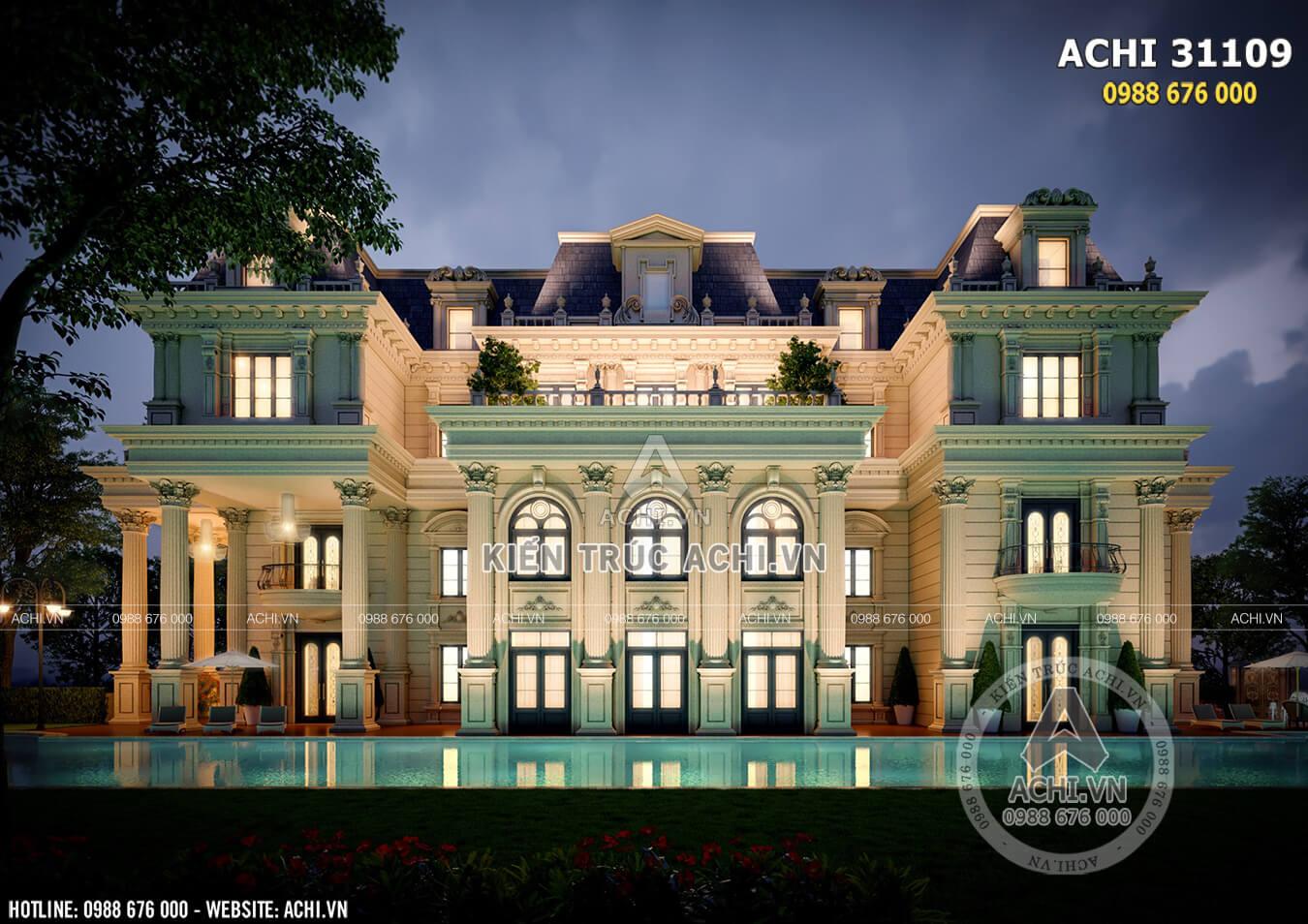 Không gian mặt tiền mẫu dinh thụ kiến trúc Châu Âu đẹp hút hồn