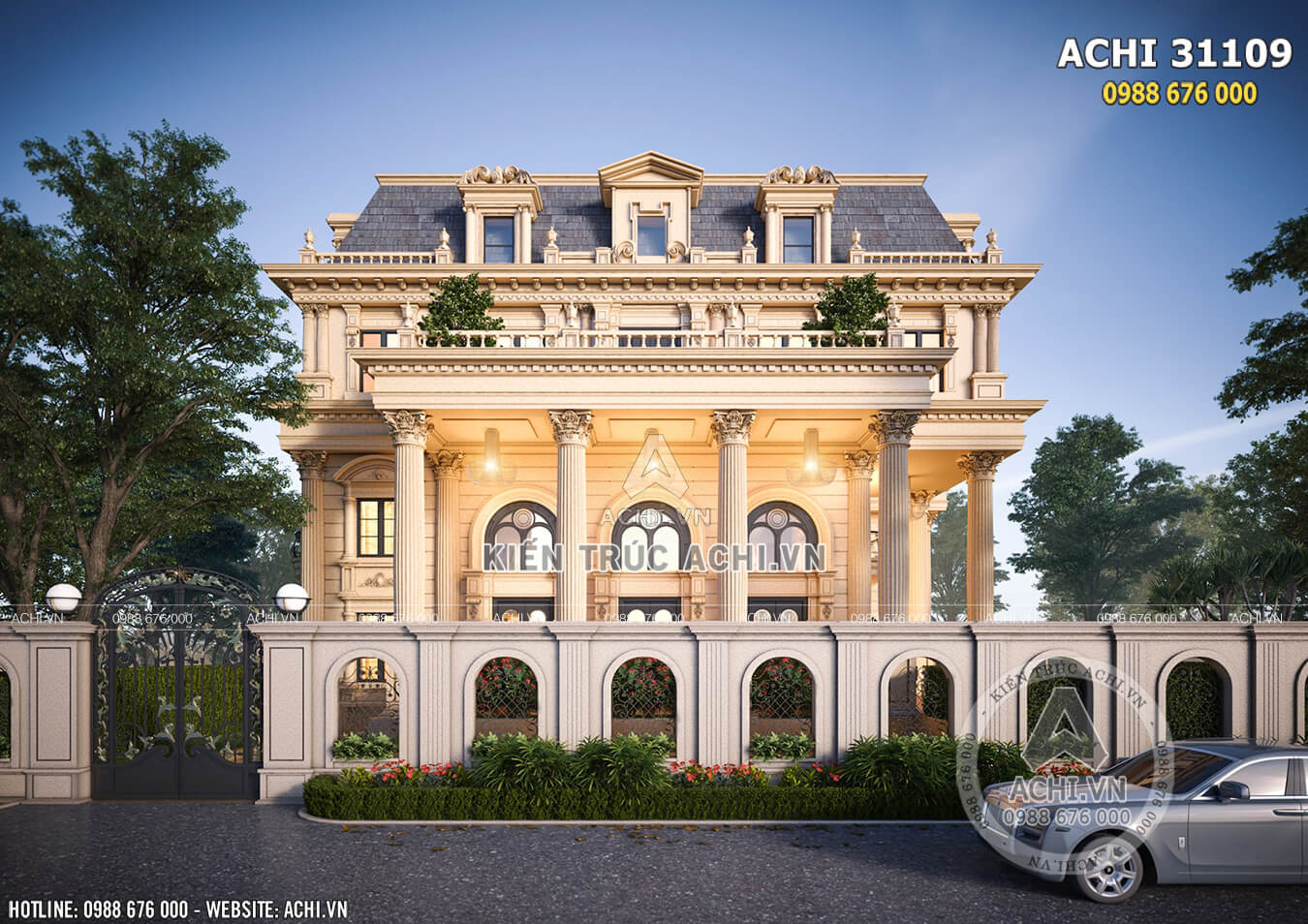 Mẫu thiết kế dinh thự Châu Âu kiến trúc tân cổ điển view nhìn từ ngoài vào