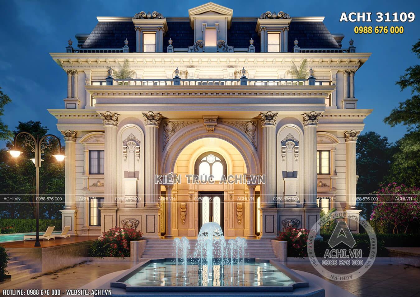 3d ngoại thất mẫu dinh thự đẹp kiến trúc Châu Âu