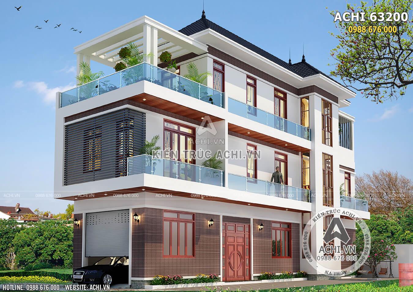 Không gian ngoại thất đẹp hút hồn của mẫu thiết kế biệt thự 3 tầng hiện đại
