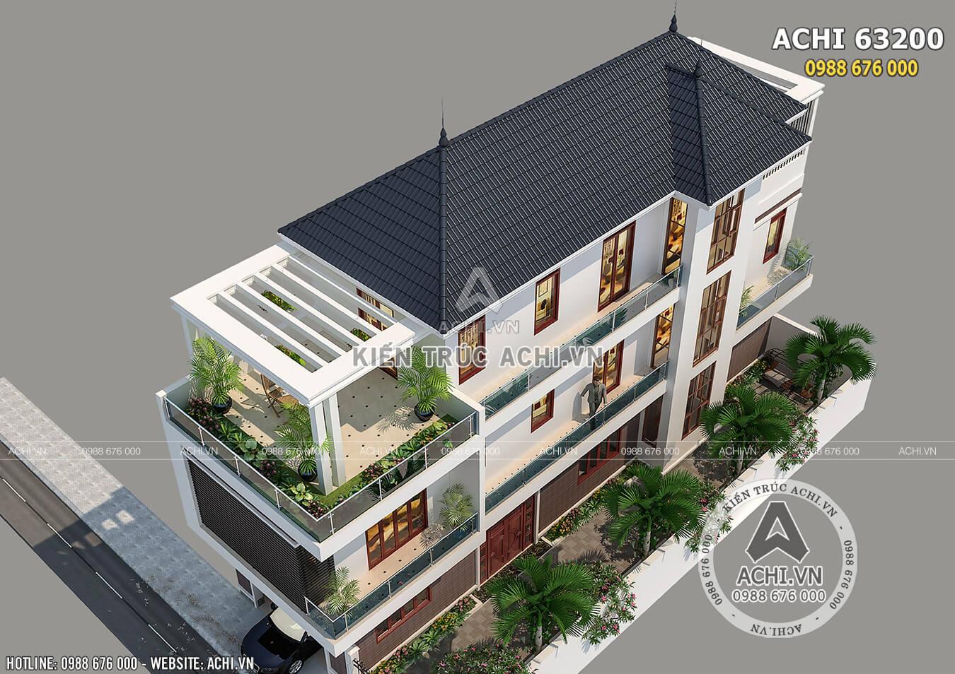 Một góc view trên cao của mẫu nhà 3 tầng hiện đại mặt tiền 5m