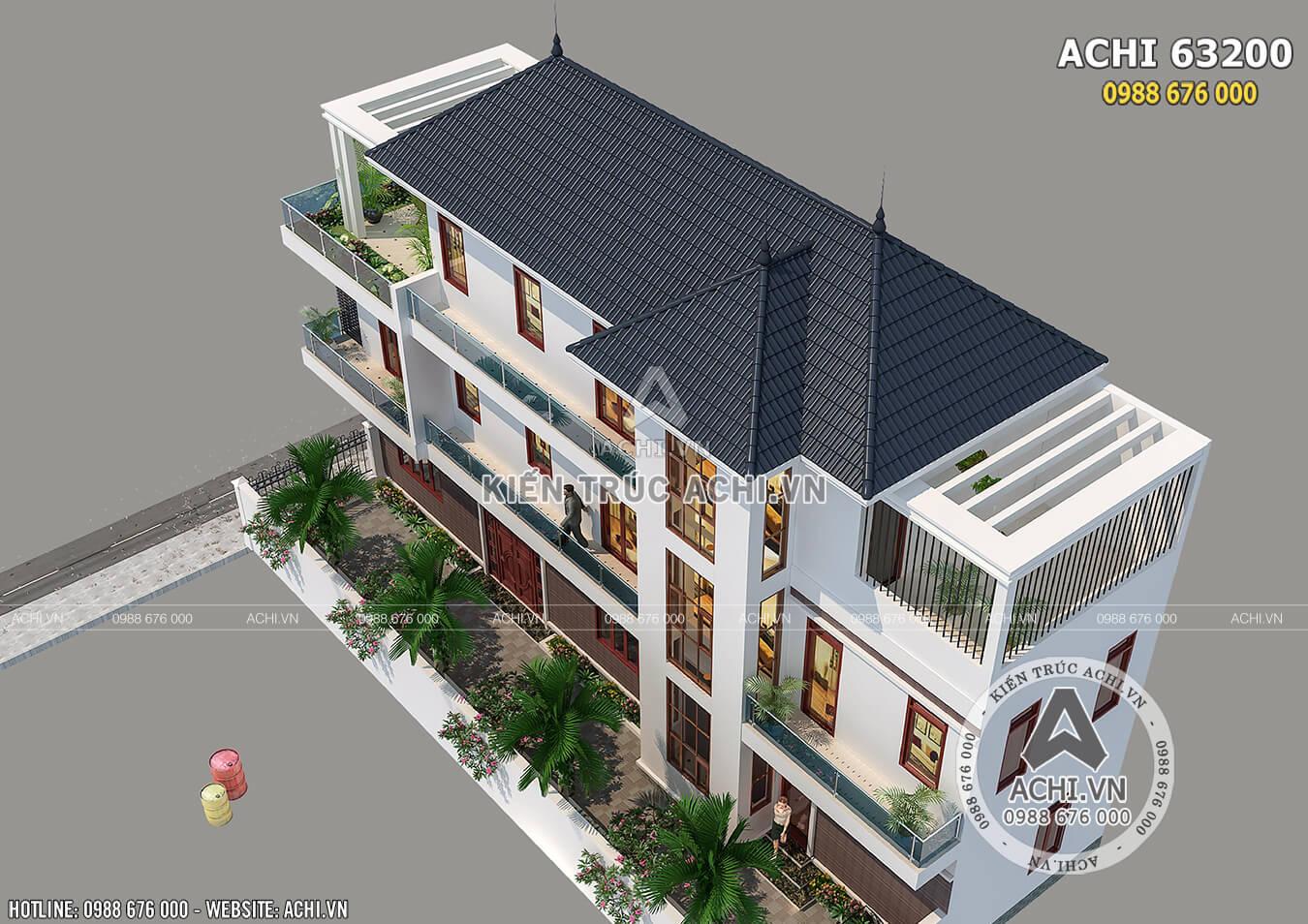 Mẫu biệt thự 3 tầng hiện đại mái Thái khi nhìn từ trên cao