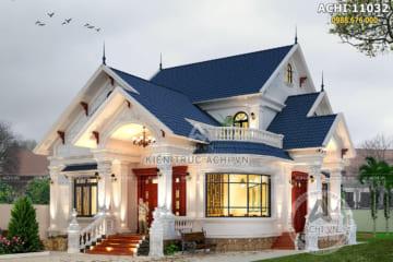 Mẫu thiết kế nhà biệt thự 1 tầng có gác lửng đẹp tại Hà Nội – ACHI 11032