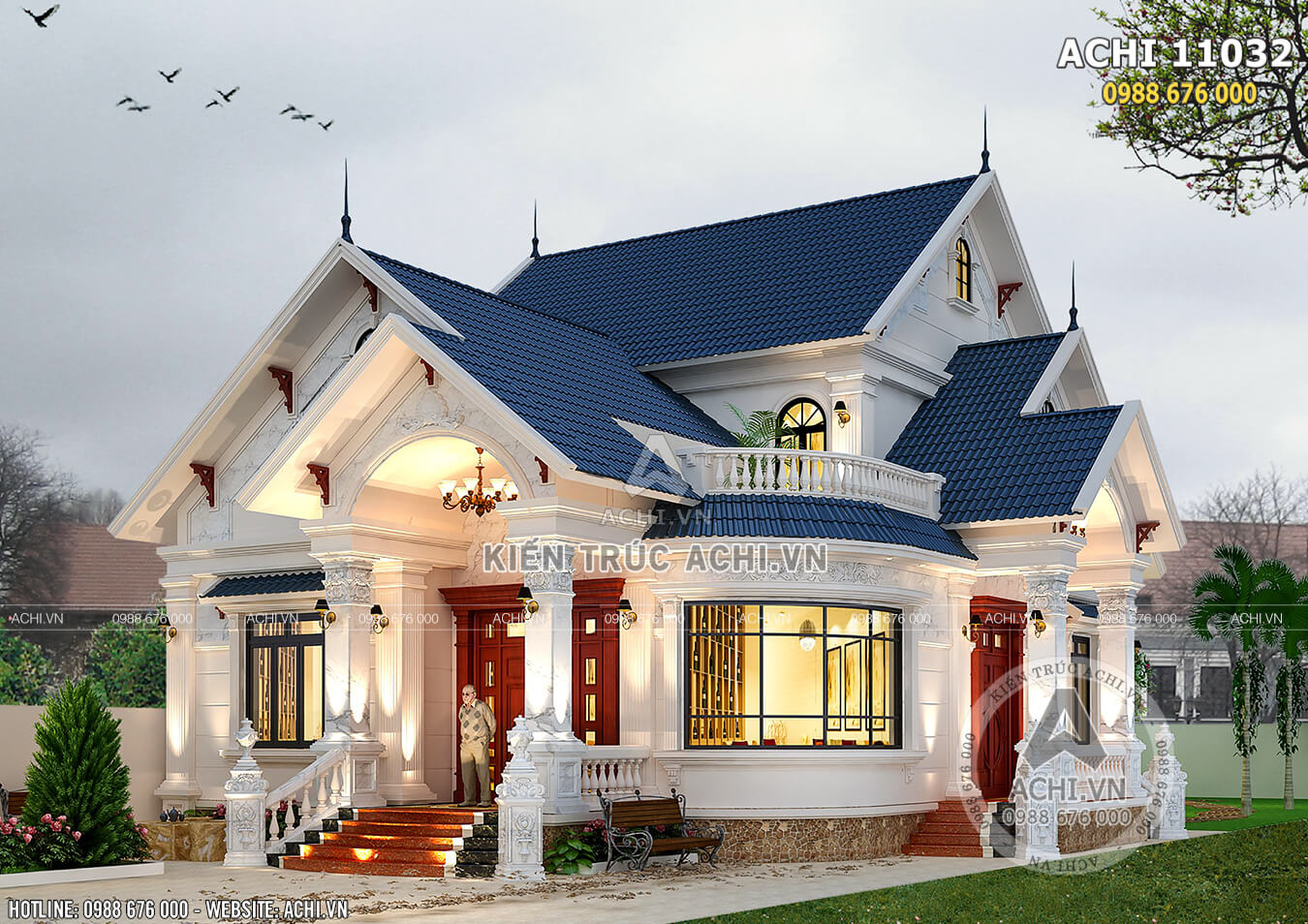 Mẫu thiết kế nhà biệt thự 1,5 tầng đẹp tại Hà Nội - ACHI 11032