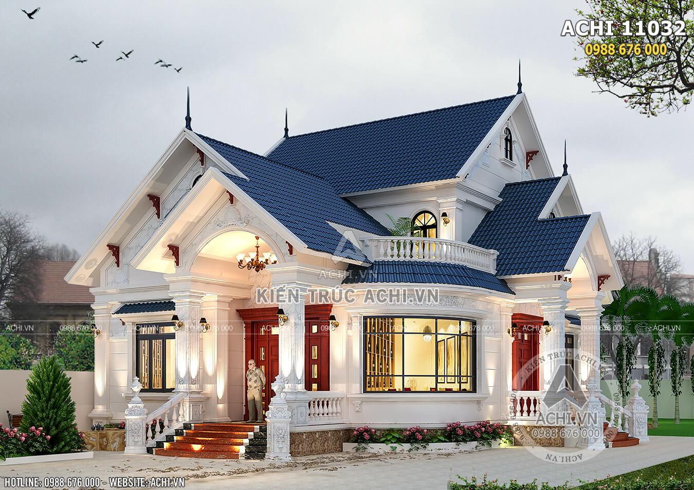 Mẫu thiết kế nhà biệt thự 1 tầng có gác lửng đẹp