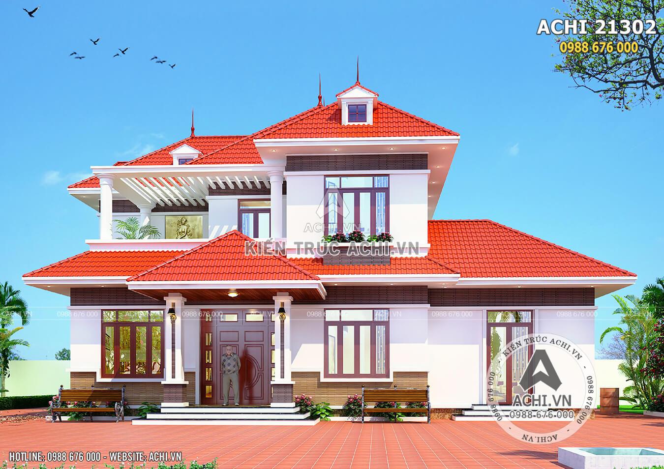 Mặt tiền biệt thự 2 tầng mái thái đỏ tại Bắc Giang