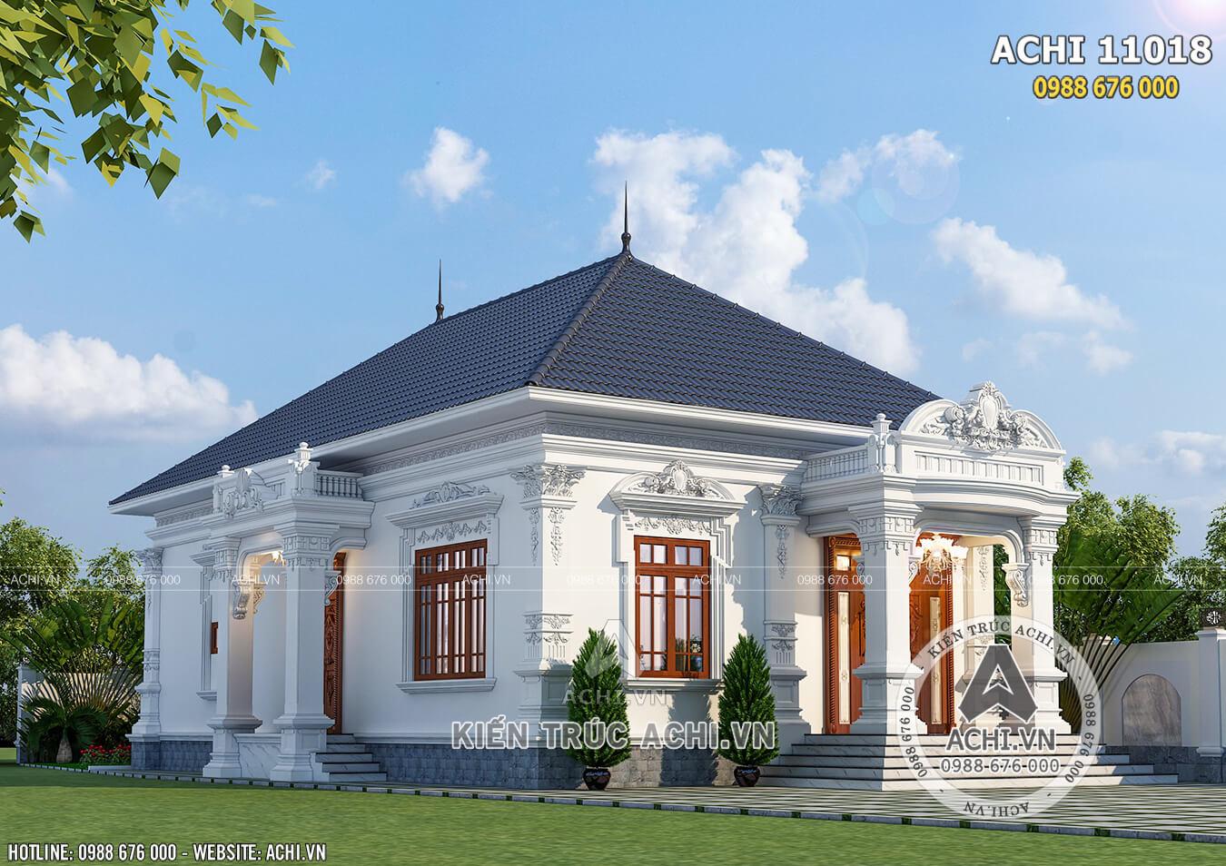 Thiết kế biệt thự tân cổ điển 1 tầng tại Đồng Nai – ACHI 11018
