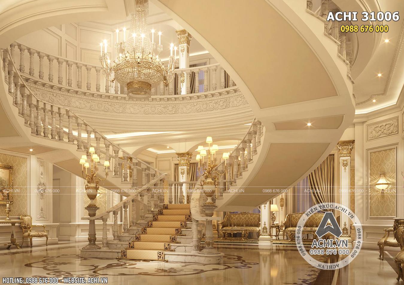 Hệ thống cầu thang lên tầng tân cổ điển sang trọng