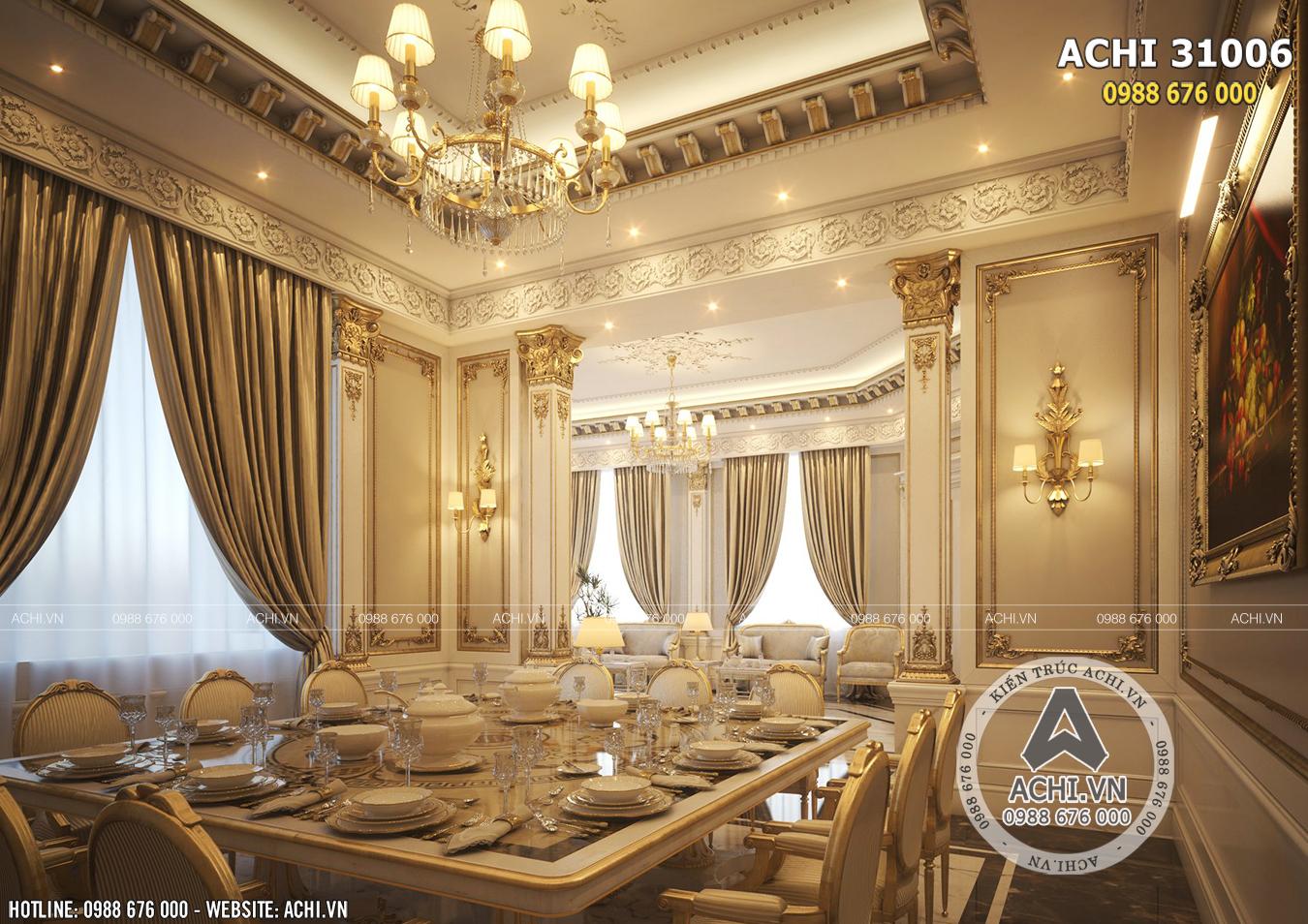Thiết kế nội thất phòng ăn của siêu lâu đài