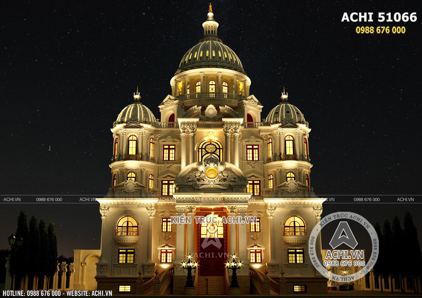 Phối cảnh 3D mặt tiền mẫu thiết kế siêu lâu đài dinh thự đẹp 4 tầng tại Hải Dương: ACHI 51066