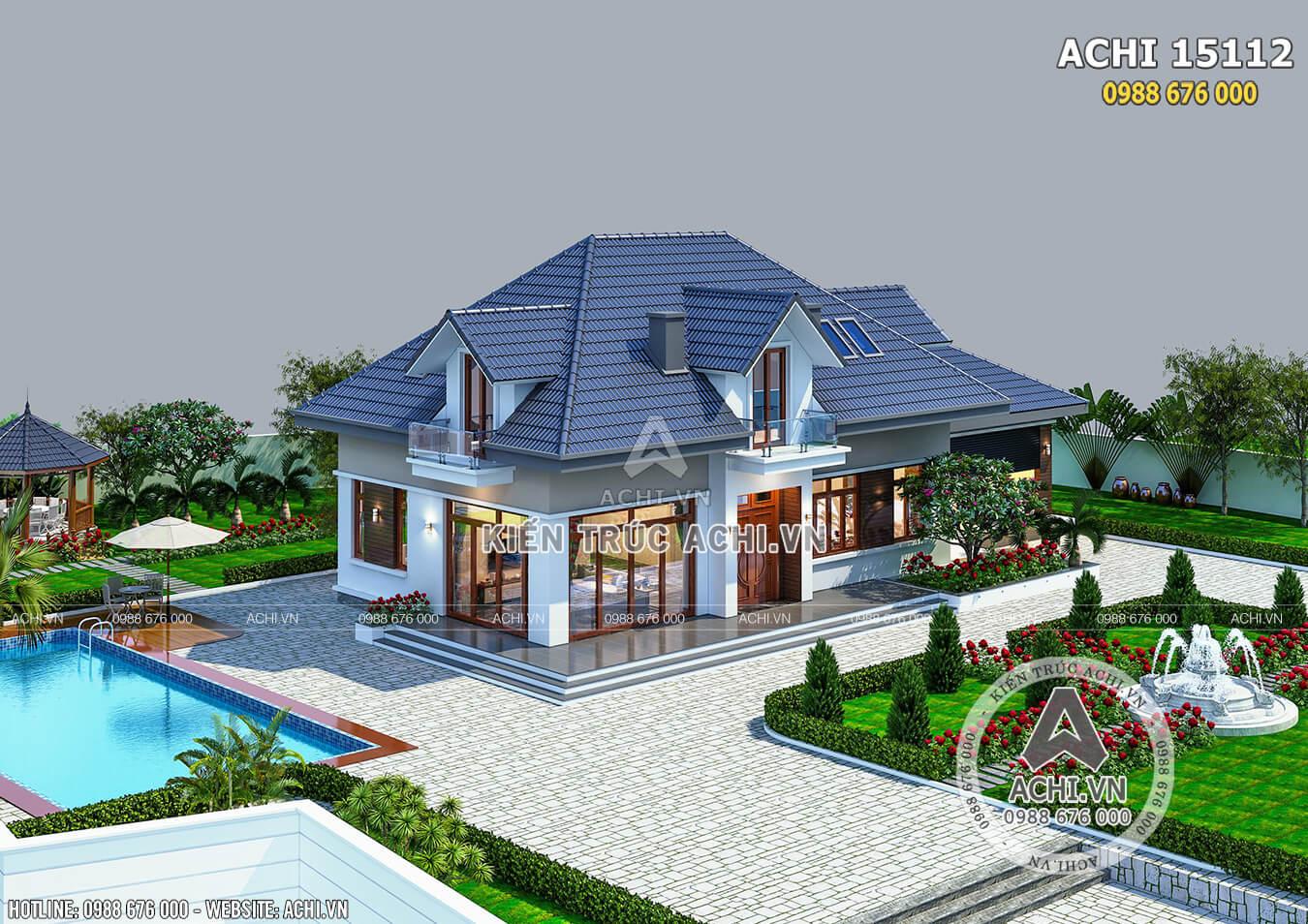 Mẫu nhà 1 tầng rưỡi hiện đại với sân vườn đẹp