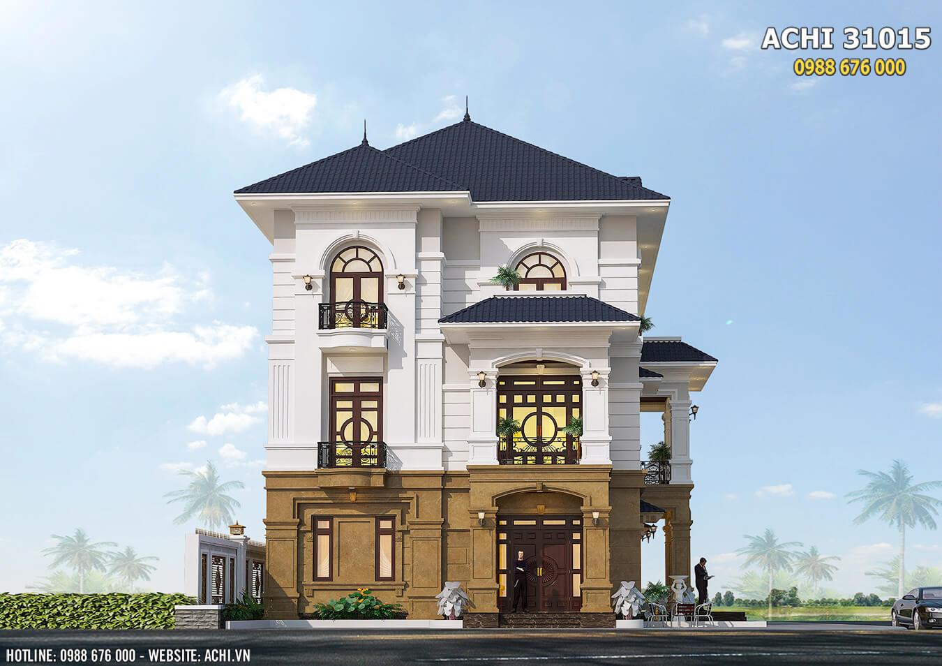 Mặt tiền mẫu nhà 3 tầng tân cổ điển sang trọng và ấn tượng