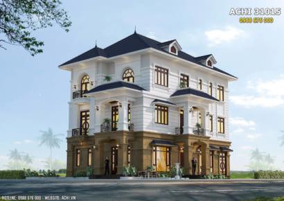 Mẫu nhà 3 tầng tân cổ điển đẹp sang trọng - ACHI 31015