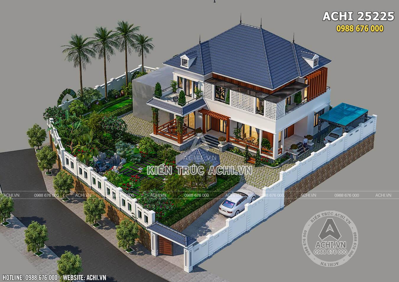 Toàn cảnh không gian ngoại thất mẫu nhà biệt thự 2 tầng hiện đại đẹp mái Thái - ACHI 25225