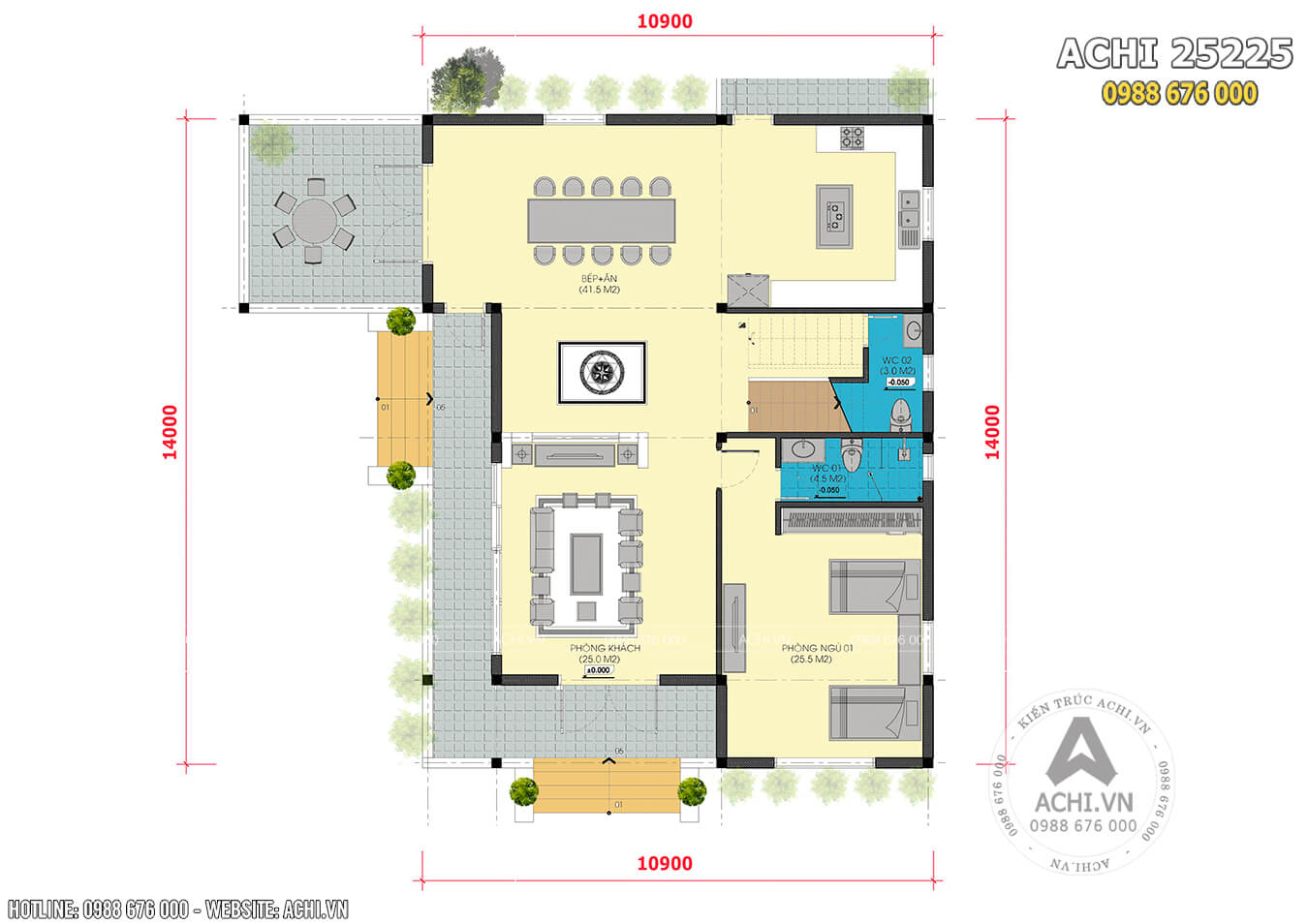 Mặt bằng tổng thể mẫu nhà biệt thự 2 tầng mái Thái đẹp ACHI 25225