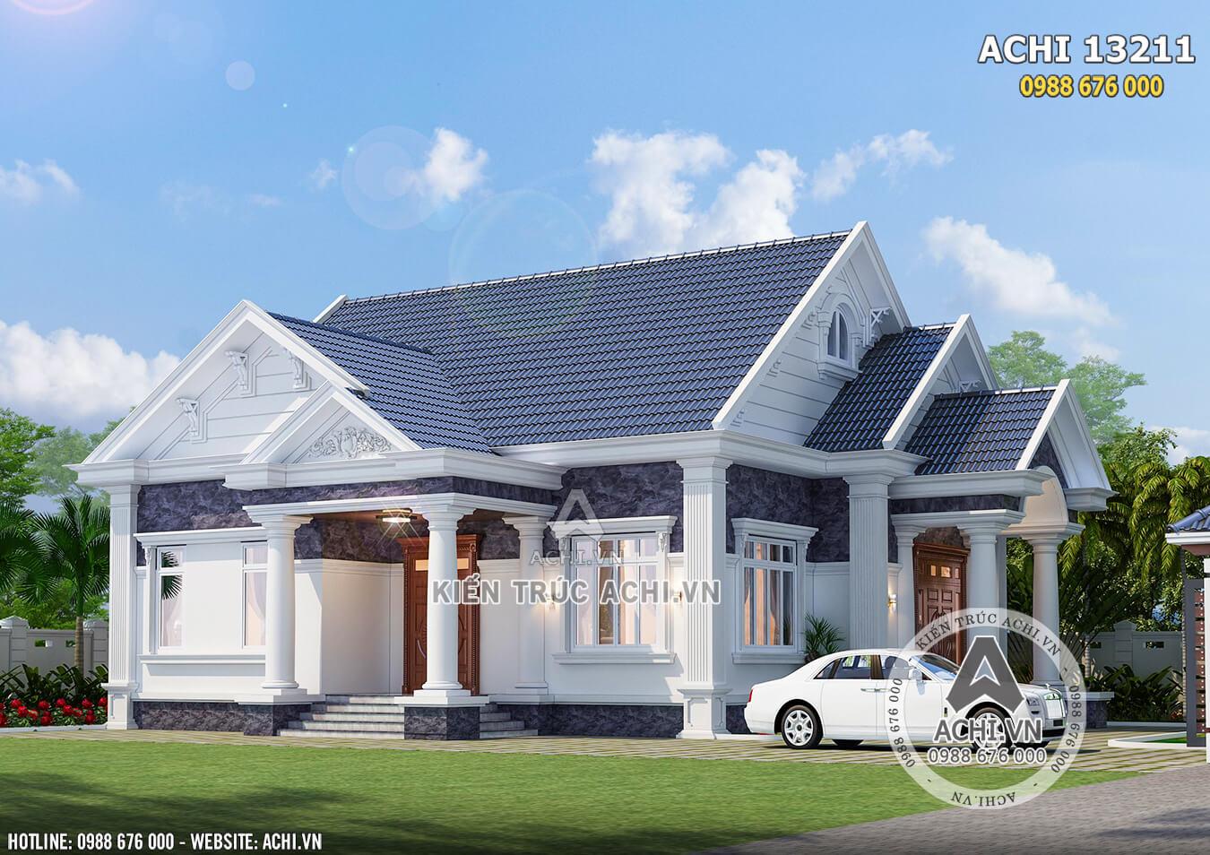 Mẫu thiết kế nhà cấp 4 mái Thái đẹp đẹp Đồng Nai với kiến trúc tân cổ điển cuốn hút