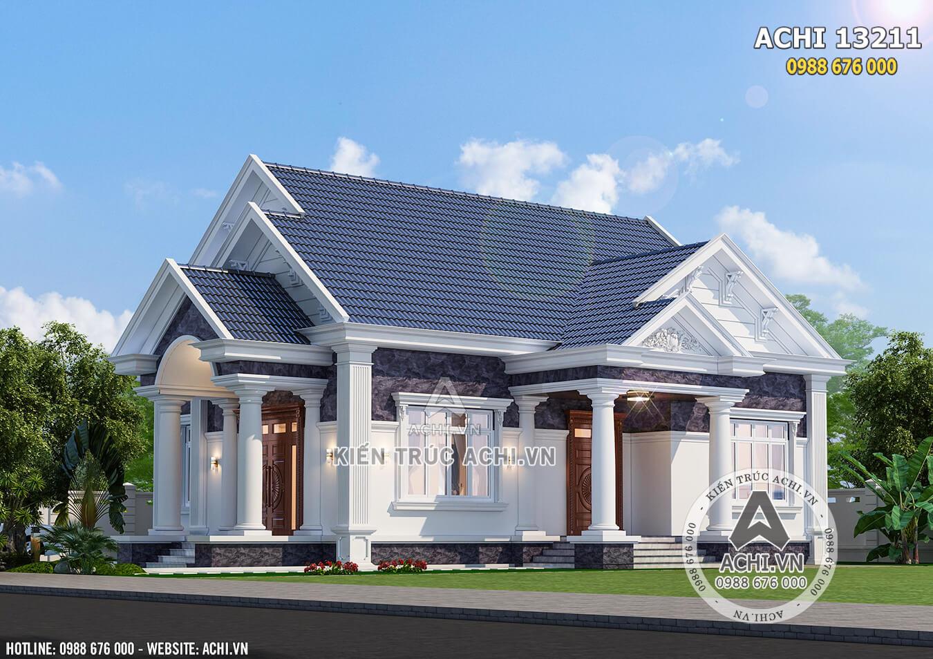 Mẫu nhà cấp 4 đẹp với hệ mái Thái xanh cùng kiến trúc tân cổ điển sang trọng, đẳng cấp