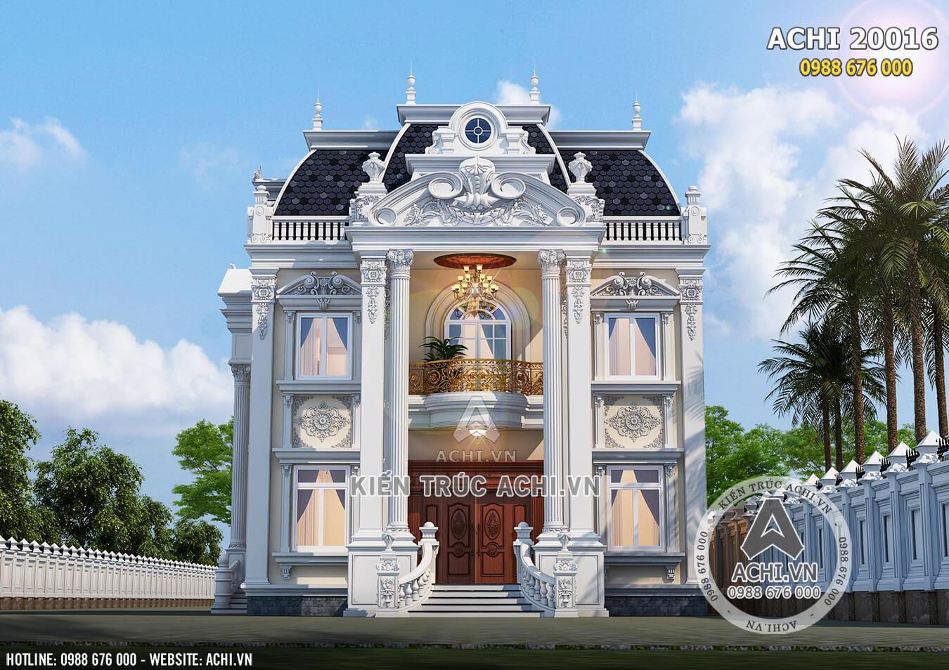 Mặt tiền mẫu dinh thự 2 tầng tân cổ điển đẹp