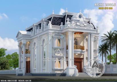 Mẫu thiết kế dinh thự 2 tầng tân cổ điển đẹp mặt tiền 12m - ACHI 20016