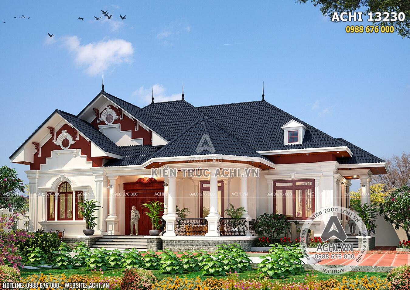 Phối cảnh 3D ngoại thất mẫu nhà 1 tầng lầu đẹp với hệ mái Thái đẳng cấp