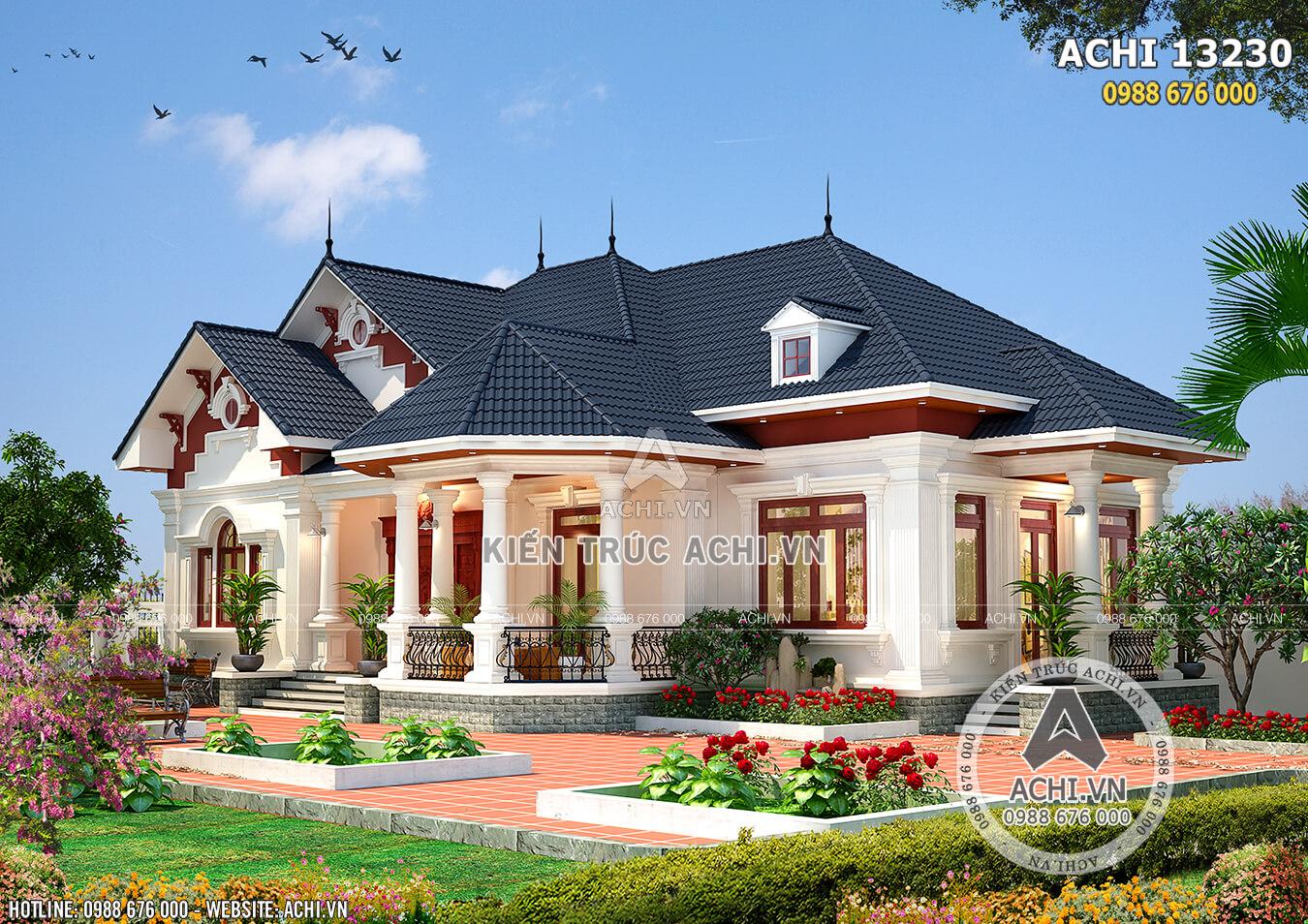 Mẫu thiết kế nhà vườn đẹp 1 tầng lầu - Mã số: ACHI 13230