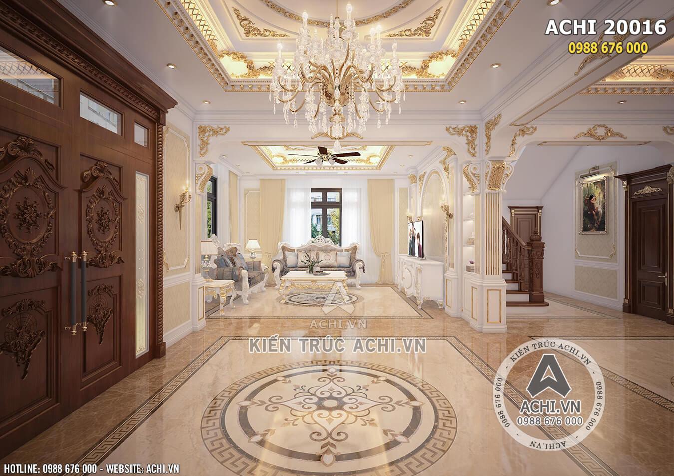 Nội thất mẫu dinh thự 2 tầng tân cổ điển đẹp mặt tiền 12m - ACHI 20016