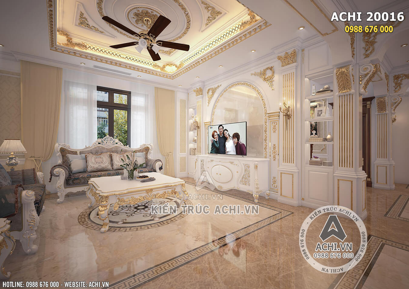 Nội thất phòng khách mẫu dinh thự mặt tiền 12m
