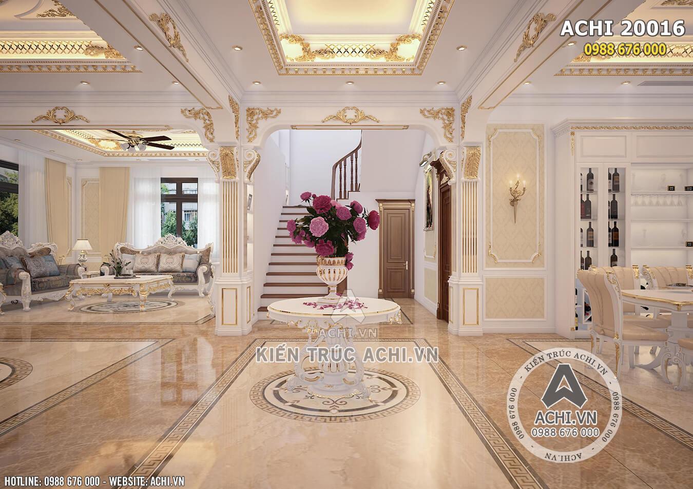 Hệ thống sảnh phòng khách cùng cầu thang lên tầng sang trọng