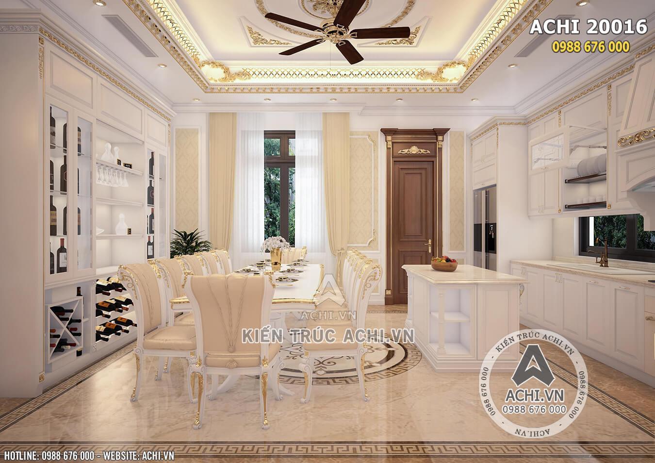 Không gian phòng bếp được bố trí tiện nghi, thoải mái và sang trọng