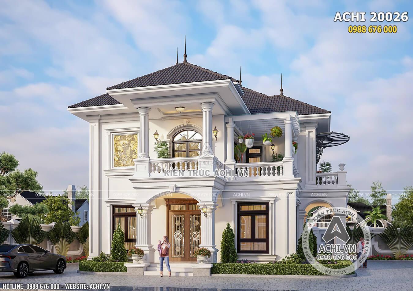 Mặt tiền mẫu biệt thự mái thái đẹp 2 tầng